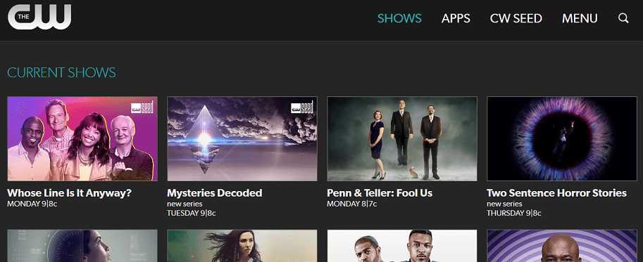 CW TV website