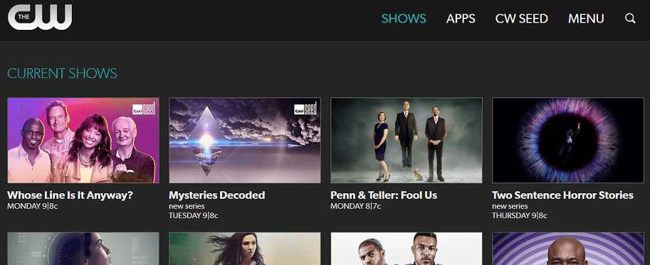 CW TV website