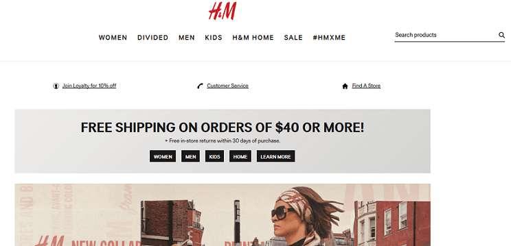 H&M website