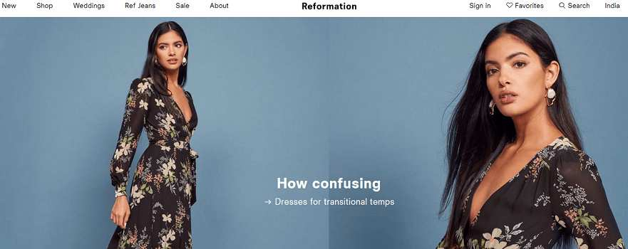 Reformation website to buy trendy clothes