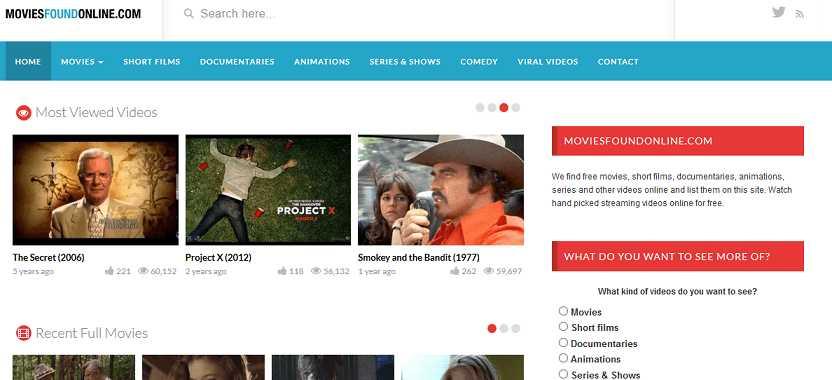 MoviesFoundOnline website