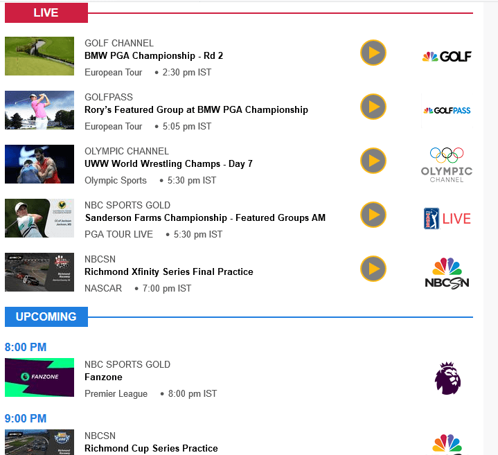 NBC Sports website