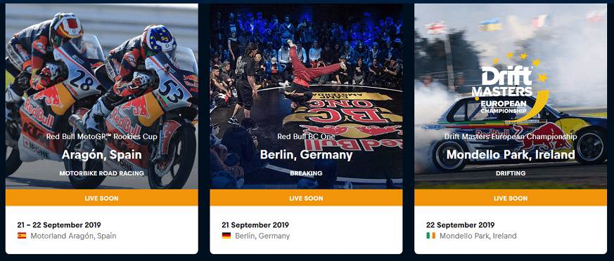 Red Bull TV website interface to watch live sports