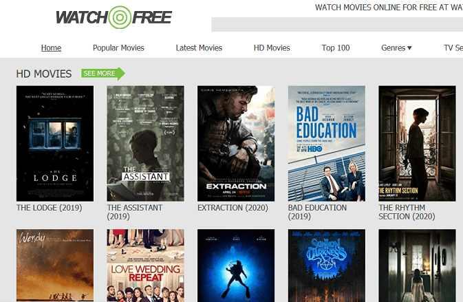WatchFree website