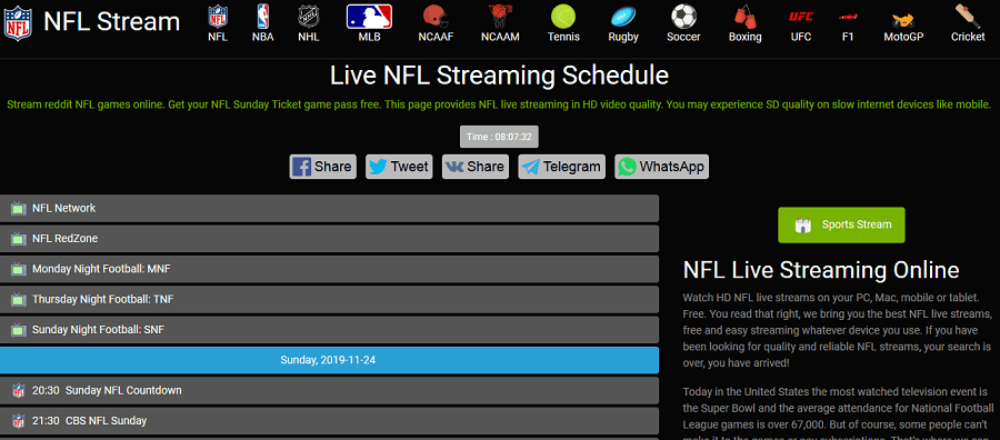 NFL Stream website