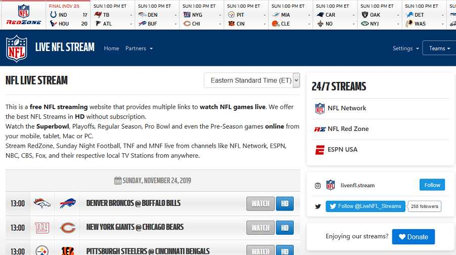 LIVE NFL website