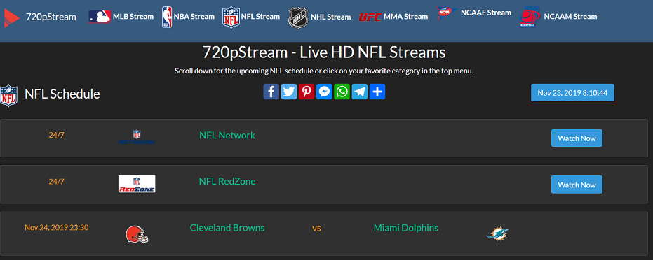 720pStream website