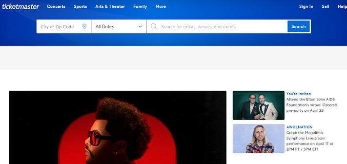 Ticketmaster website