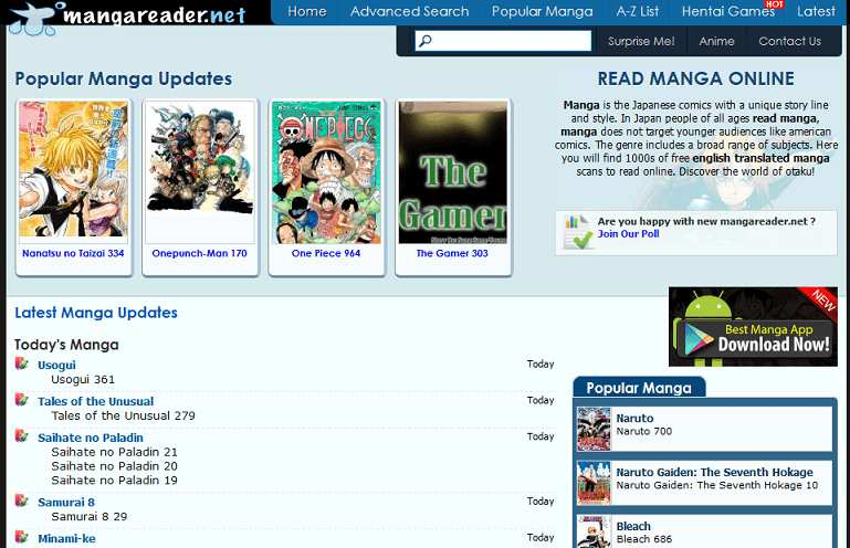 Manga Reader website