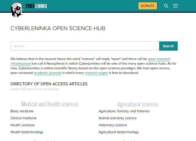CyberLeninka website