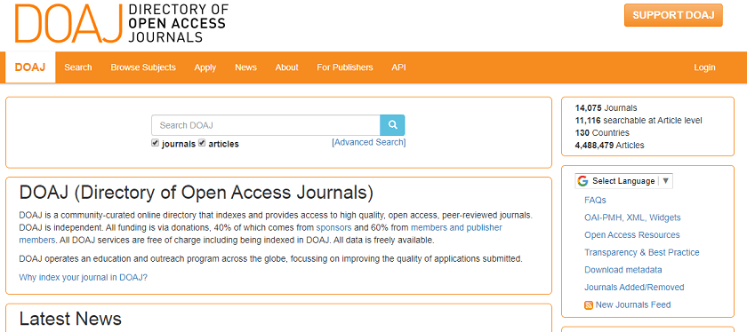 Directory of Open Access Journals website