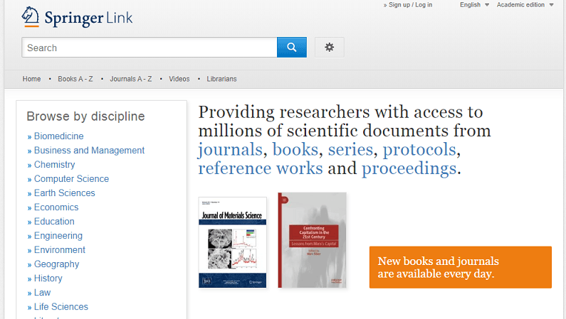 SpringerLink website