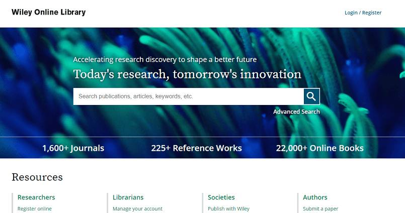 Wiley Online Library website