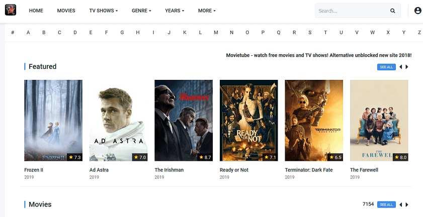 MovieTube website