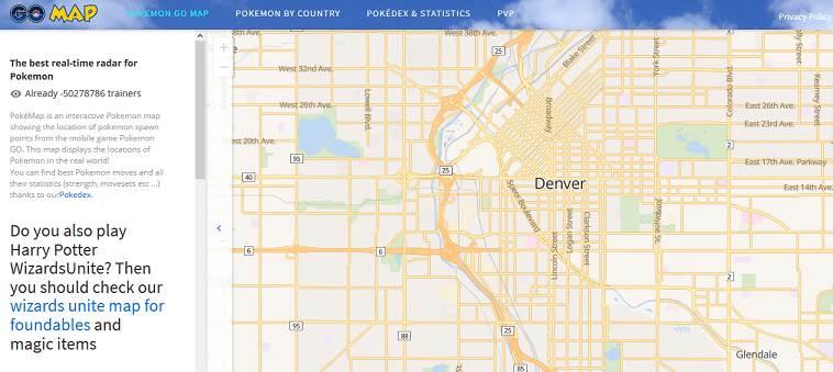 Poke Map website
