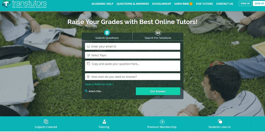 Transtutors website