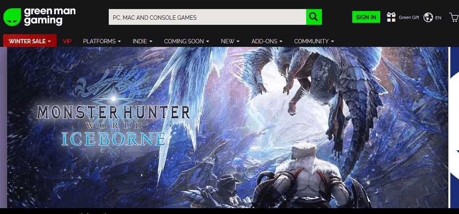 Green Man Gaming website