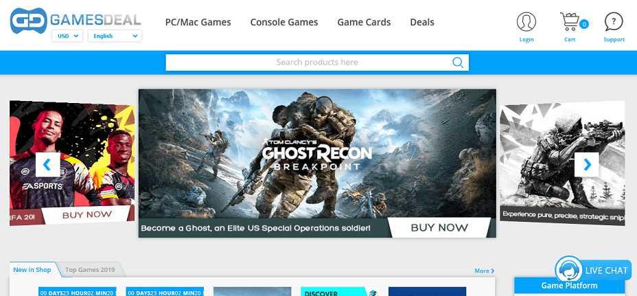 Games Deal website user interface