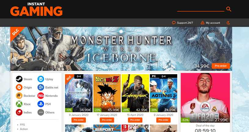 Instant Gaming website user interface