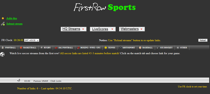 FirstRowSports website