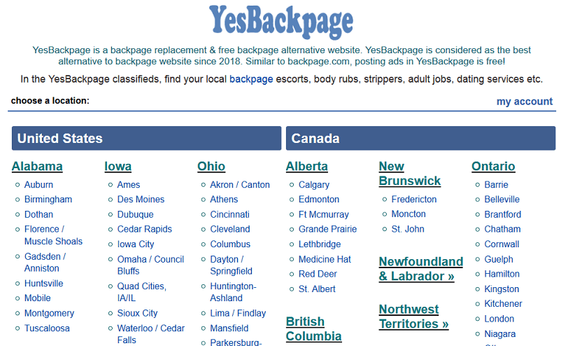 Yesbackpage website