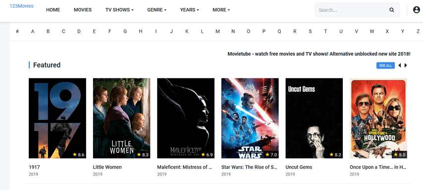 MovieTube website