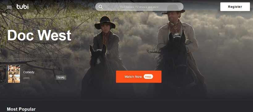 TubiTV website