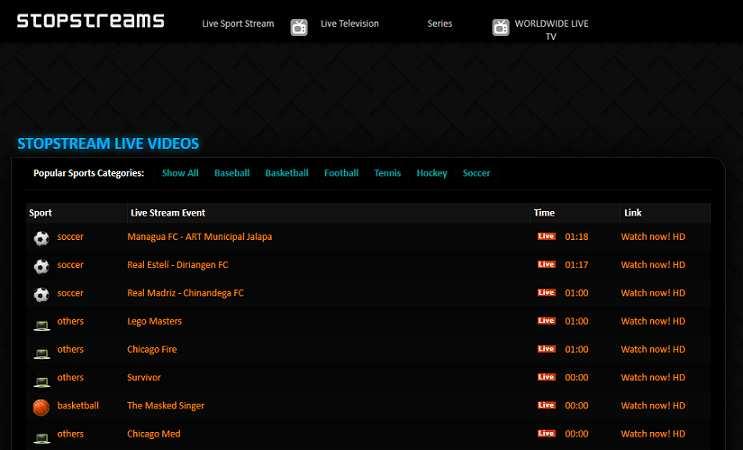 StopStreams website