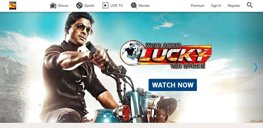 SonyLIV website