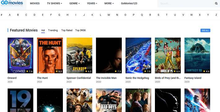 GoMovies website