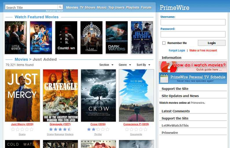 Primewire website