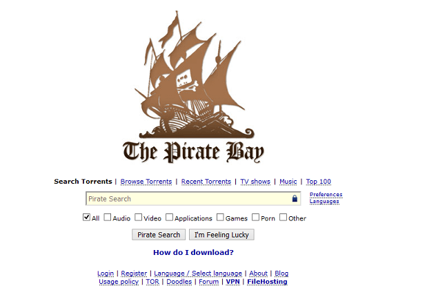 The Pirate Bay website interface