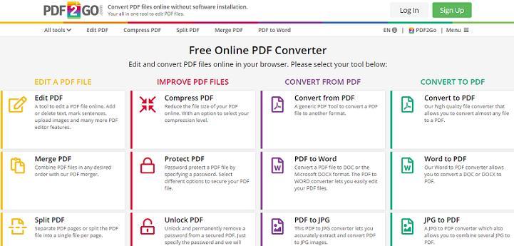 PDF2Go website