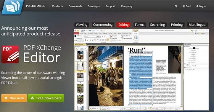 PDF-Xchange Editor website