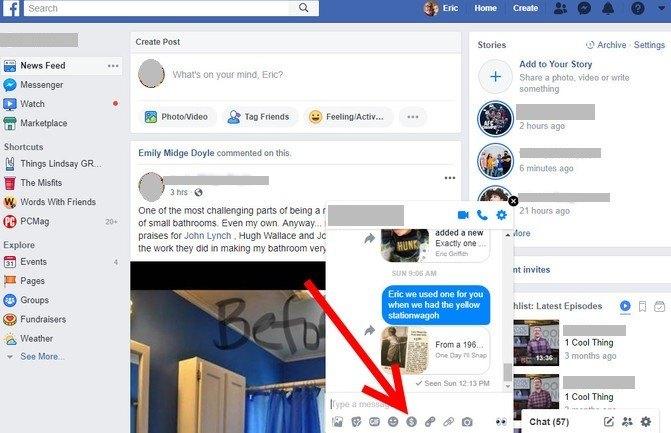 Send money through Facebook