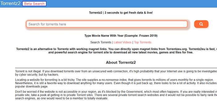 Torrentz2 website