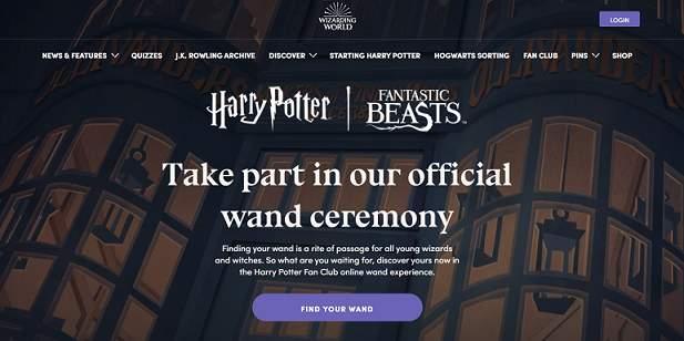 Wizardingworld website