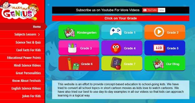 Make Me Genius educational website for kids