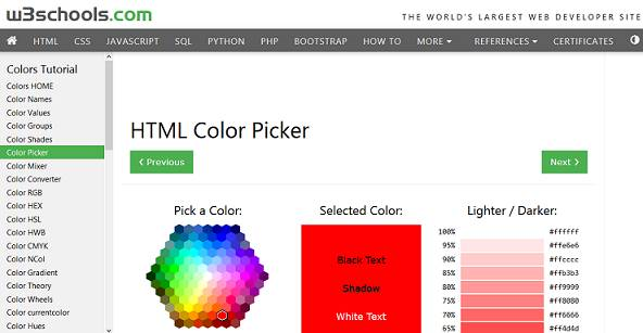 W3Schools HTML Color Picker website