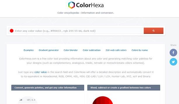 ColorHexa website