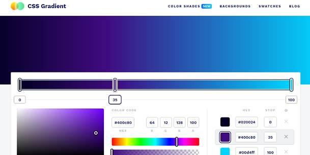 CSS Gradient website