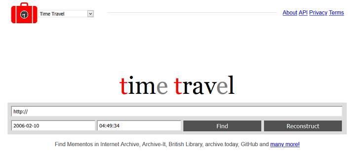 TimeTravel website