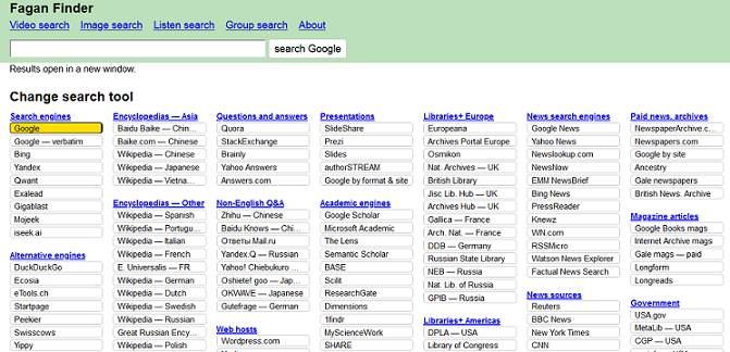 Fagan Finder website