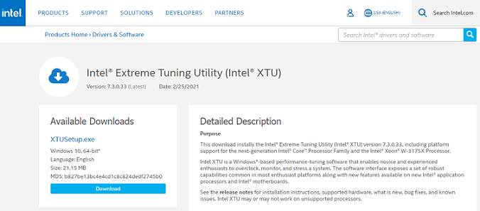 Intel XTU CPU Overclocking Software