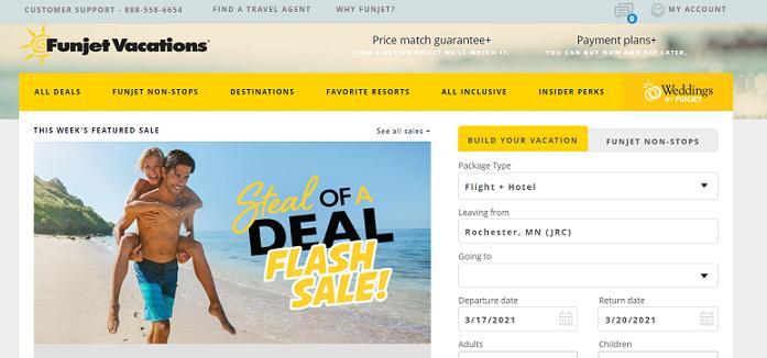Funjet Vacations website