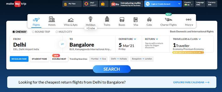 MakeMyTrip best travel website