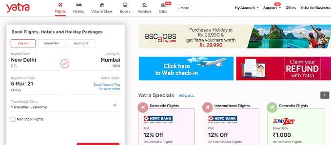 Yatra travel website