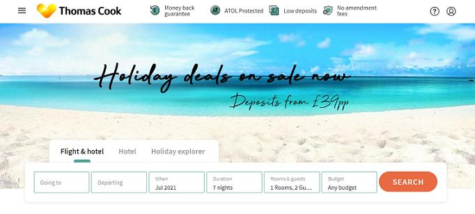 Thomas Cook travel booking website