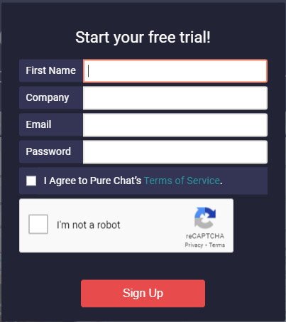 Pure Chat Sign Up